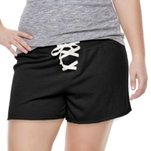Juniors' Plus Size SO® Lace-Up Lounge Shorts