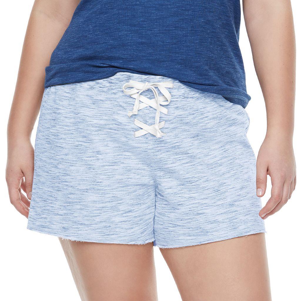 Juniors' Plus Size SO® Lace-Up Lounge Shorts
