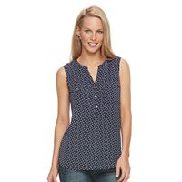Women's Croft & Barrow® Print Crepe Henley