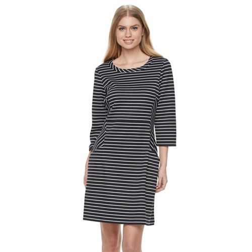 Women's Nina Leonard Striped Shift Dress