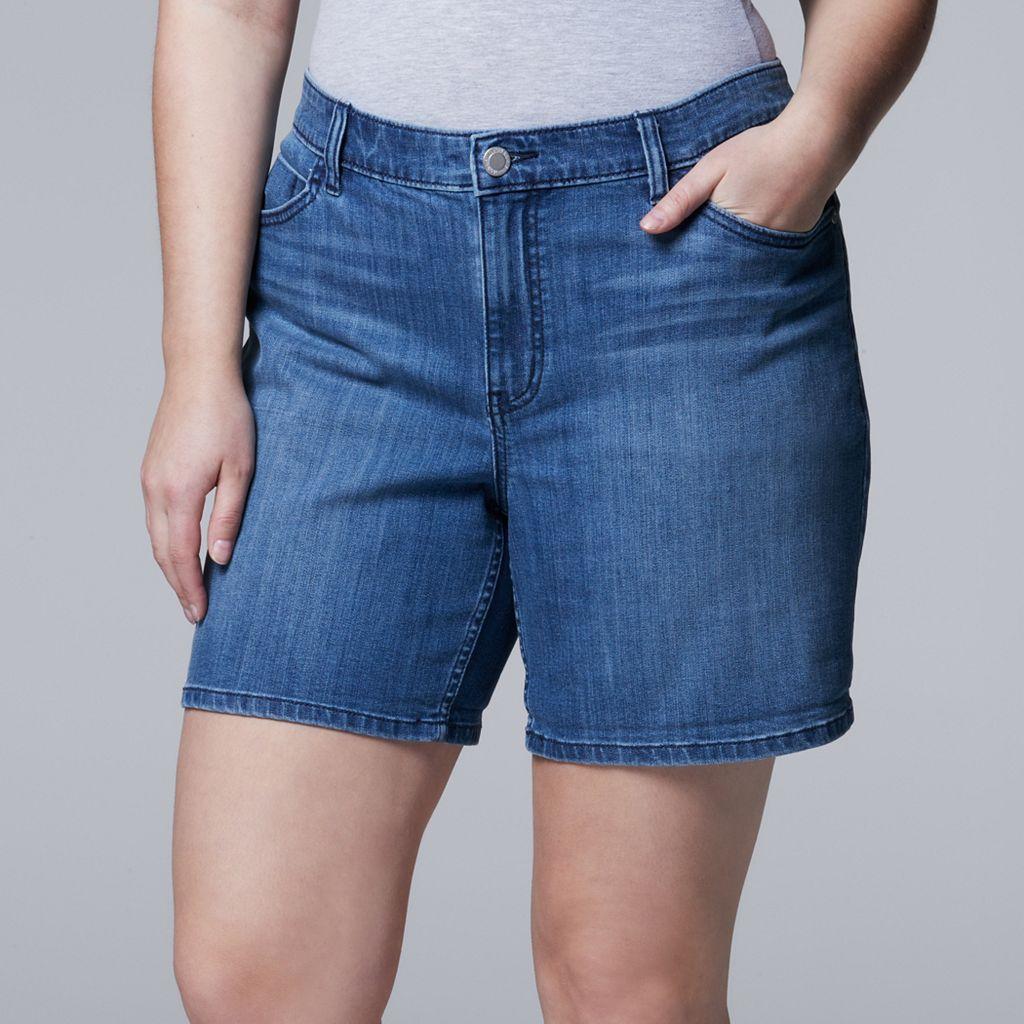 Plus Size Simply Vera Vera Wang Cuffed Jean Shorts