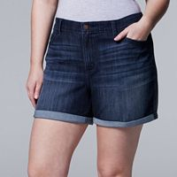 Plus Size Simply Vera Vera Wang Cuffed Jean Shorts