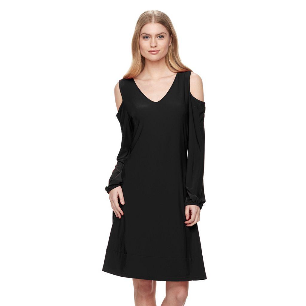 Women's Nina Leonard Cold-Shoulder Swing Dress