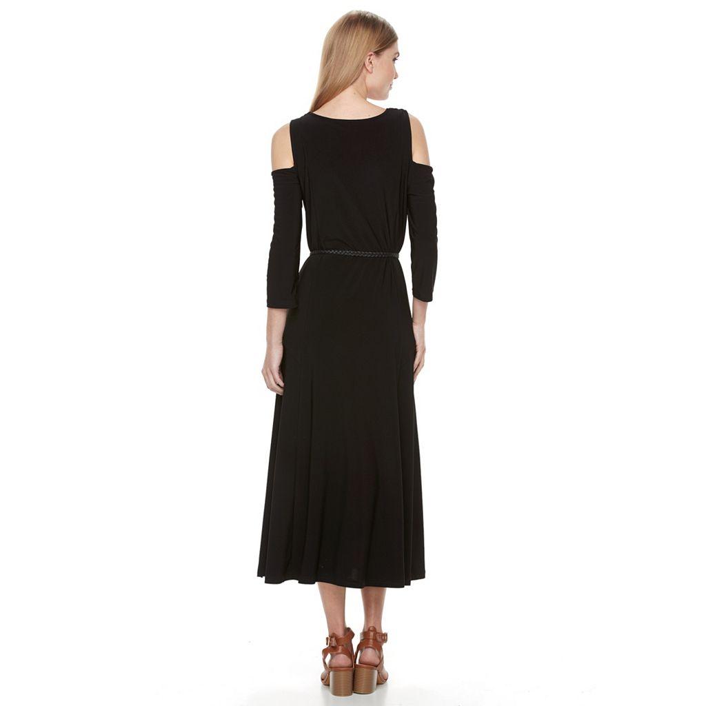 Women's Nina Leonard Cold-Shoulder A-Line Dress