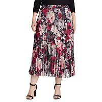 Plus Size Chaps Floral Georgette Pleated Skirt