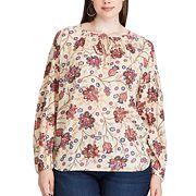 Plus Size Chaps Floral Print Long Sleeve Top