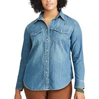Plus Size Chaps Western Denim Shirt