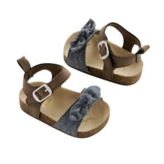Newborn Baby Girl Carter's Bow Sandal Crib Shoes