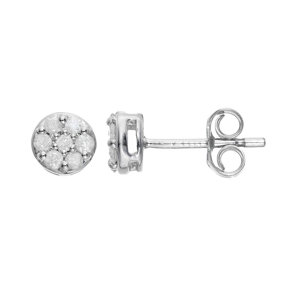 Sterling Silver 1/4 Carat T.W. Diamond Cluster Stud Earrings