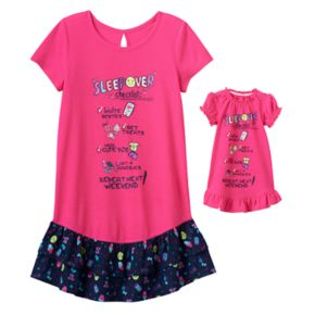 Girls 4-14 SO® Tiered Skirt Graphic Dorn Nightgown & Doll Gown Set