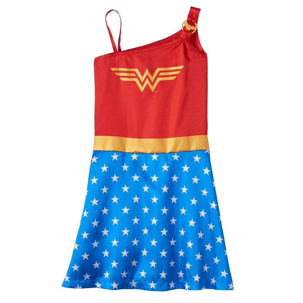 Girls 4-12 DC Comics Wonder Woman One-Shoulder Nightgown