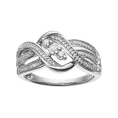 Sterling Silver 1/4 Carat T.W. Diamond 3-Stone Ring