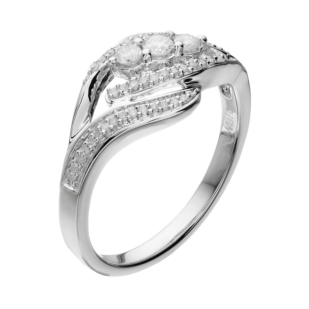 Sterling Silver 1/4 Carat T.W. Diamond 3-Stone Bypass Ring