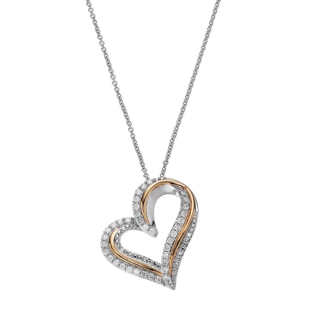 Two Tone Sterling Silver 1/2 Carat T.W. Diamond Heart Pendant