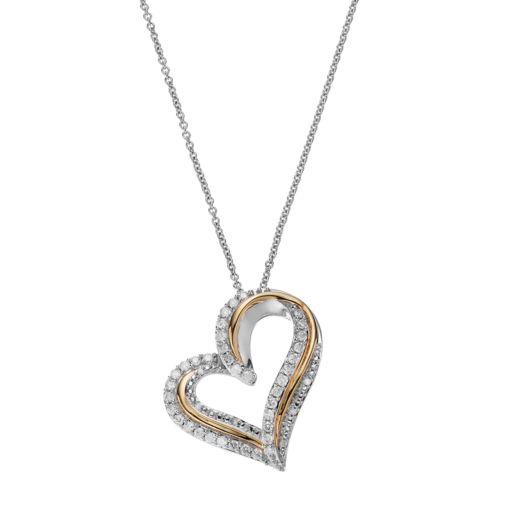 Two Tone Sterling Silver 1/2 Carat T.W. Diamond Heart Pendant