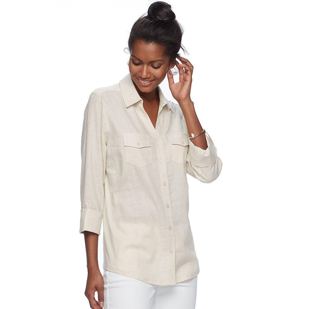 Women's Croft & Barrow® Solid Linen-Blend Shirt