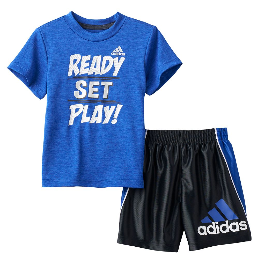 Toddler Boy adidas Midfielder Tee & Shorts Set
