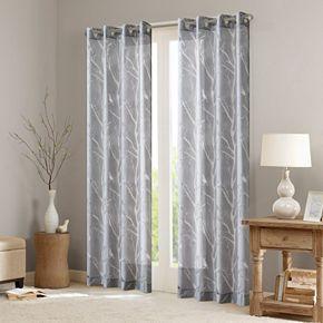 Madison Park 1-Panel Vina Sheer Bird Window Curtain