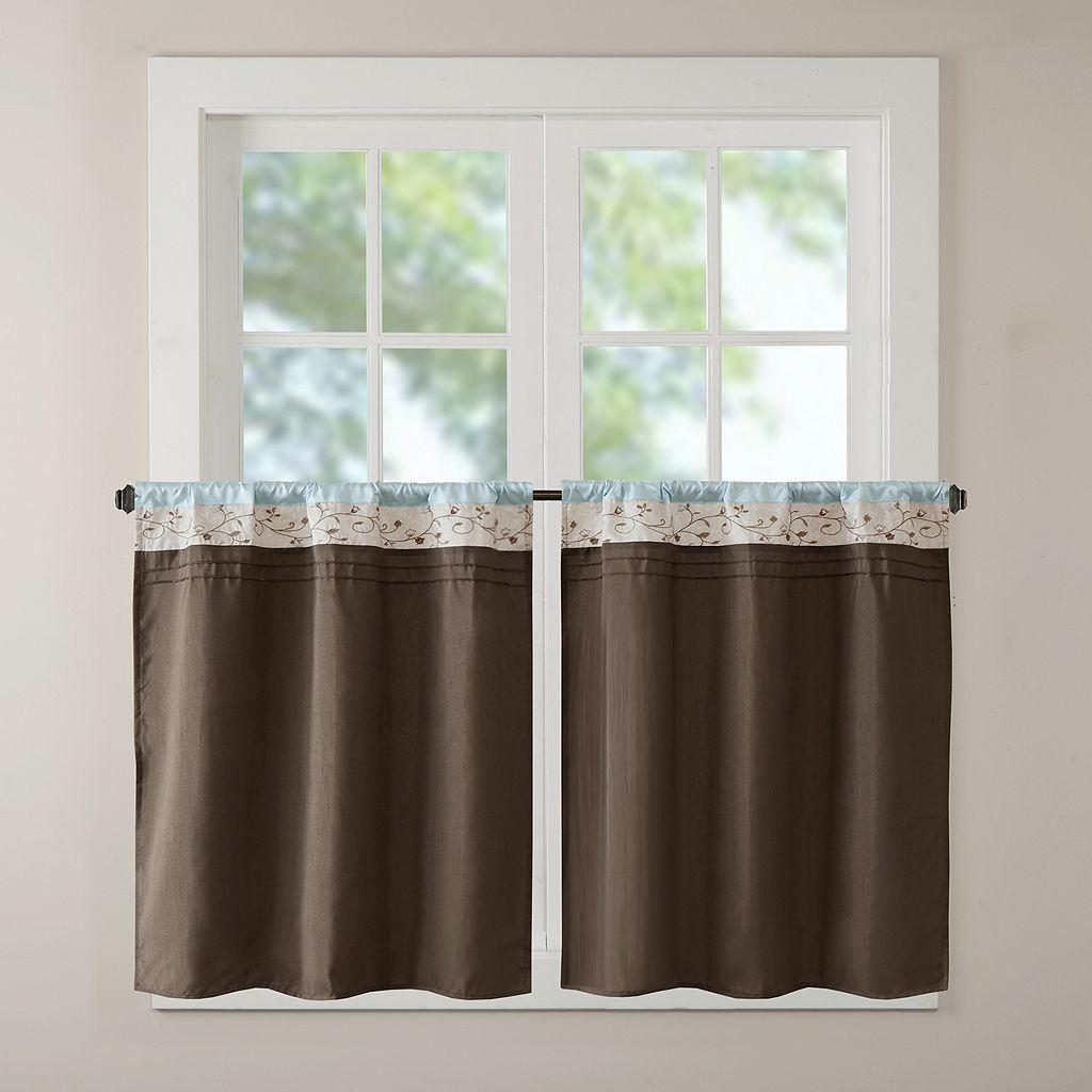 Madison Park Serene Embroidered Tier Kitchen Window Curtain