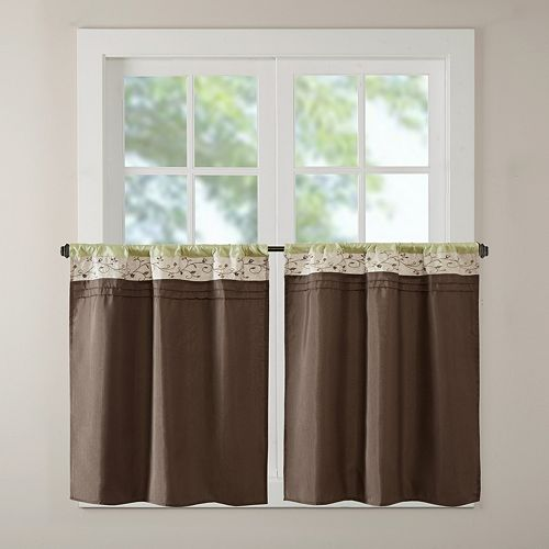 Madison Park Serene Embroidered 2-pack Tier Kitchen Window Curtain