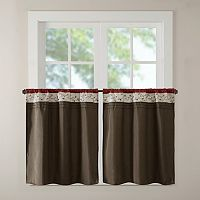 Madison Park Serene Embroidered Tier Kitchen Window Curtain