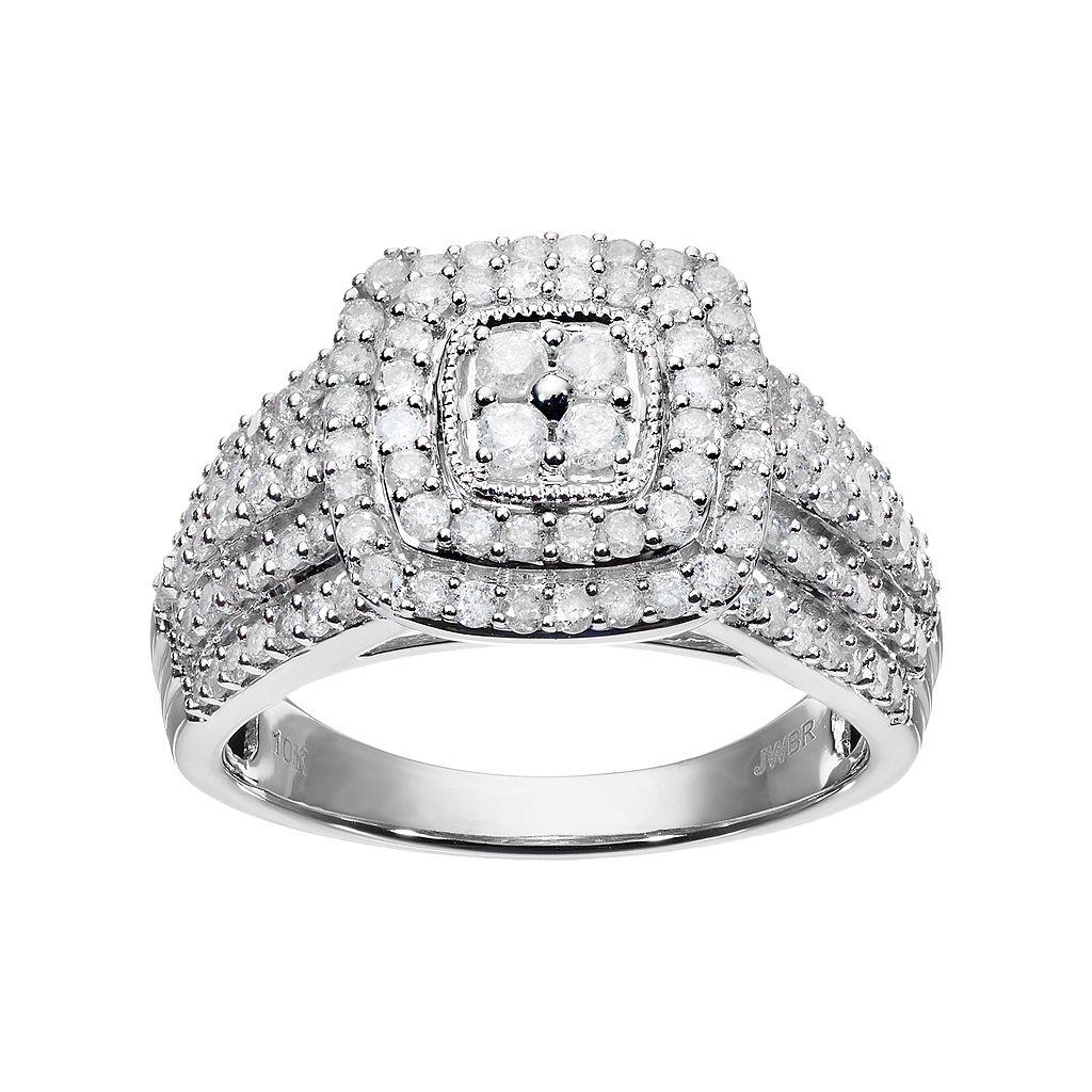 10k White Gold 1 Carat T.W. Diamond Square Halo Ring