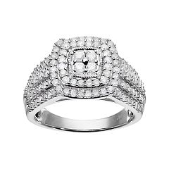10k White Gold 1 Carat T.W. Diamond Square Halo Ring