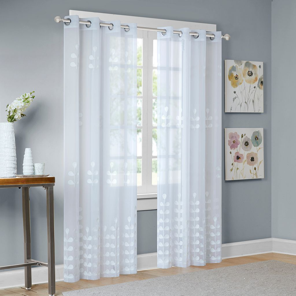 Madison Park Kira Embroidered Sheer Window Curtain