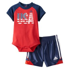 "Baby Boy adidas ""USA"" Graphic Bodysuit & Shorts Set"