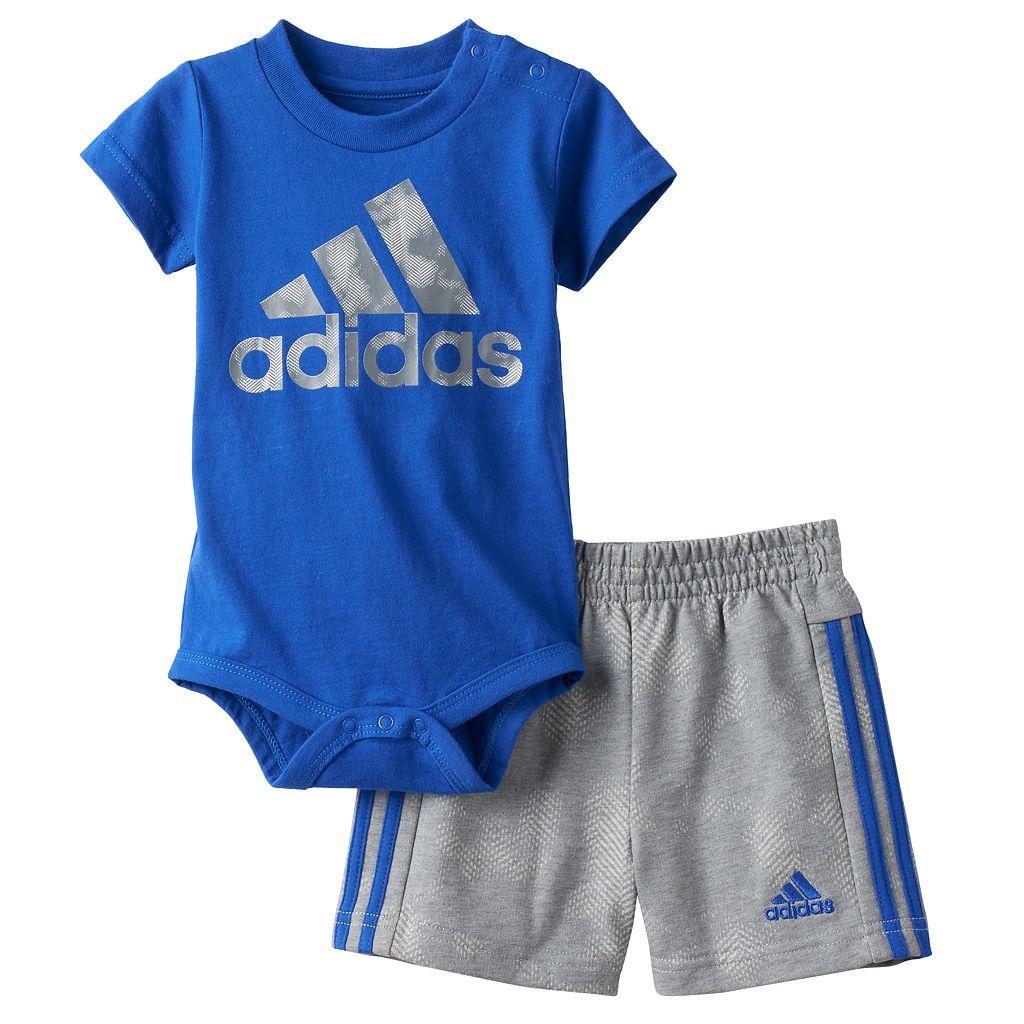Baby Boy adidas Logo Graphic Bodysuit & Shorts Set