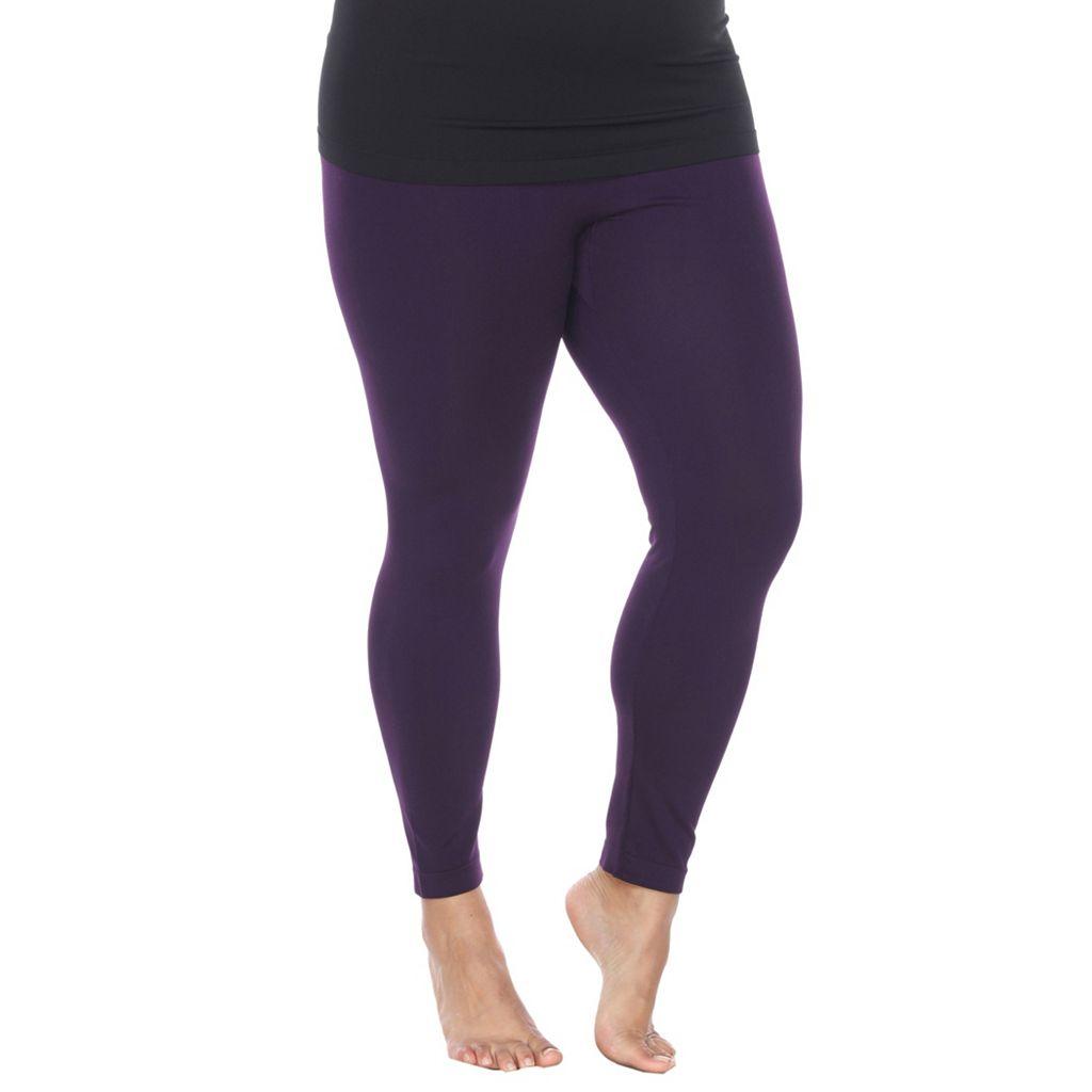 Plus Size White Mark Solid Leggings