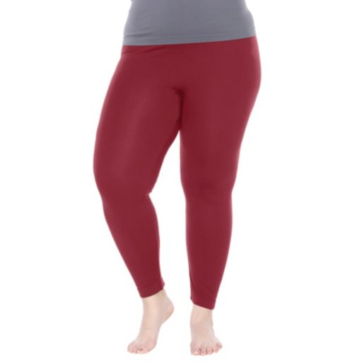 Plus Size White Mark Solid Leggings