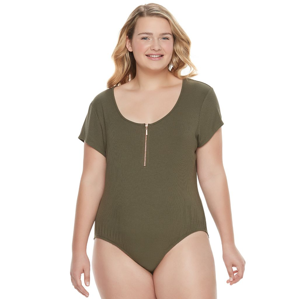 Juniors' Plus Size Candie's® Ribbed Zip Front Bodysuit