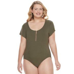 Juniors' Plus Size Candie's® Ribbed Zip Front Bodysuit