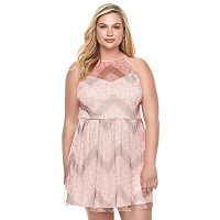Juniors' Plus Size Candie's® Mesh High Neck Dress