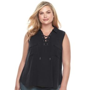 Juniors' Plus Size Candie's® Solid Lace-Up Top