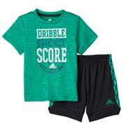 Baby Boy adidas 'Dribble, Shoot & Score' Tee & Shorts Set