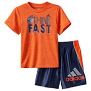 Baby Boy adidas Graphic Tee & Striped Shorts Set