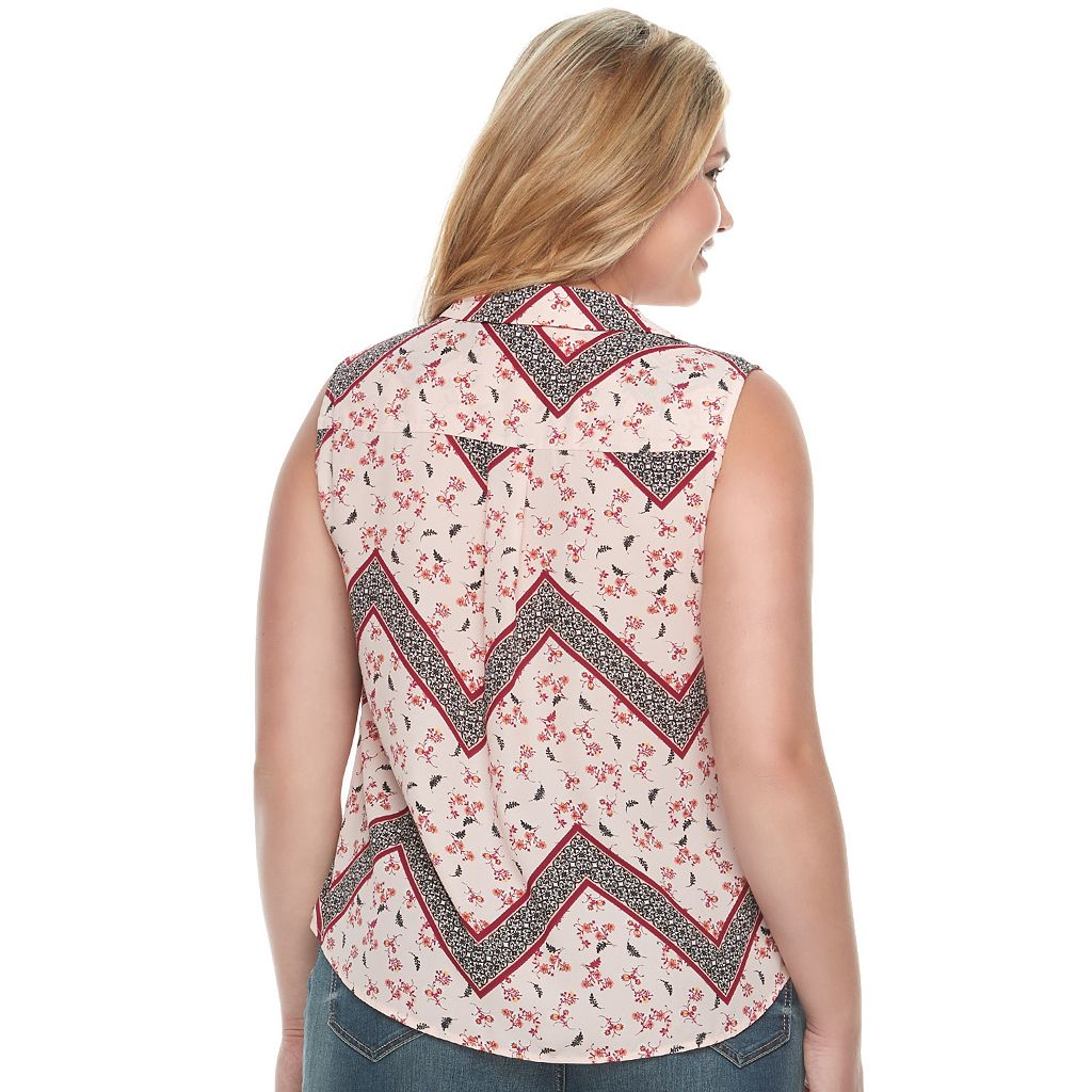 Juniors' Plus Size Candie's® Print Lace-Up Top