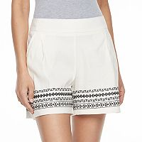 Women's Apt. 9® Embroidered Linen Blend Shorts