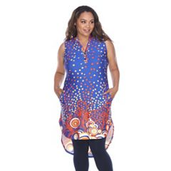 Plus Size White Mark Printed High-Low Tunic