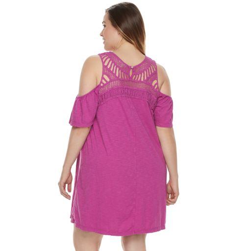 Plus Size SONOMA Goods for Life™ Macrame Cold-Shoulder Dress