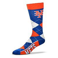 Adult For Bare Feet New York Mets Argyle Line Up Crew Socks