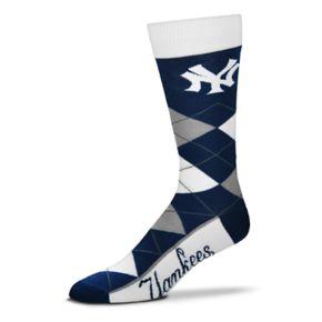 Adult For Bare Feet New York Yankees Argyle Line Up Crew Socks