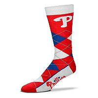 Adult For Bare Feet Philadelphia Phillies Argyle Line Up Crew Socks