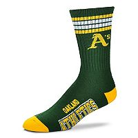 Adult For Bare Feet Oakland Athletics Deuce Striped Crew Socks
