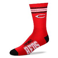 Adult For Bare Feet Cincinnati Reds Deuce Striped Crew Socks