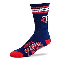 Adult For Bare Feet Minnesota Twins Deuce Striped Crew Socks