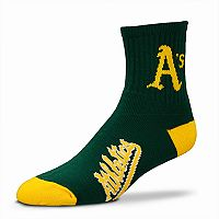 Adult For Bare Feet Oakland Athletics Team Color Quarter-Crew Socks