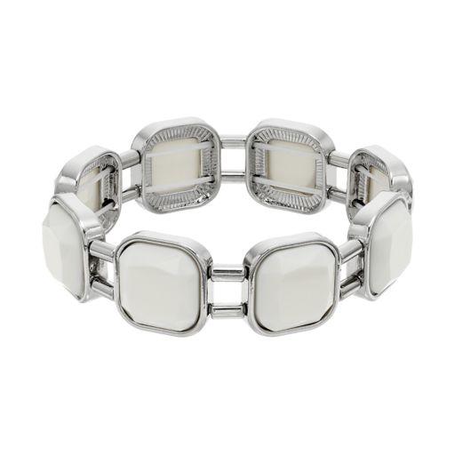 White Square Link Stretch Bracelet